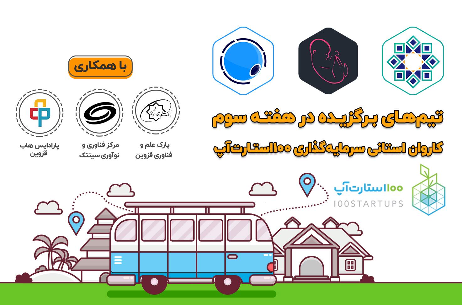 کاروان استانی 100استارتاپ را مشاهده میکنید که روی نقشه ی ایران سفر میکند و هر هفته به یک استان میرود.